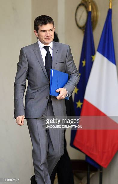 France's Junior Minister for Housing Benoist Apparu leaves the presidential Elysee palace at the end of the weekly cabinet meeting on March 21 2012...