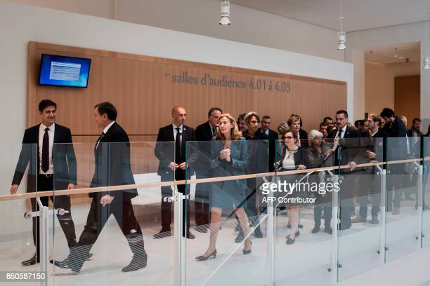 France's Justice Minister Nicole Belloubet visits the site of the new courthouse on September 21 porte de Clichy Paris With its 160 m this new...