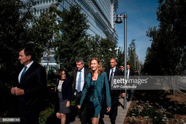 France's Justice Minister Nicole Belloubet walks on one of the terraces as she visits the site of the new courthouse on September 21 porte de Clichy...