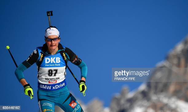 France's Justine Braisaz competes during the Women's 15 km individual race during the 2017 IBU Biathlon World Championships in Hochfilzen on February...