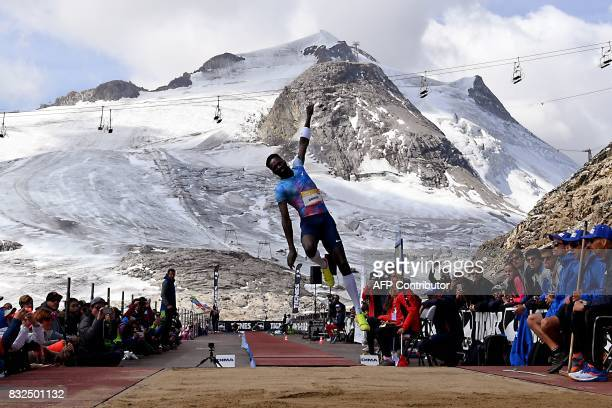 France's Kafetien Gomis competes in the men's long jump during 'The Jump of the Giants' Tignes Athletics Open at the foot of the Tignes glacier 3032m...