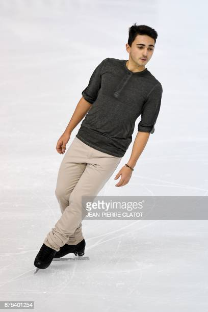 France's Kevin Aymoz performs during the men's short program during event of the Internationaux de France ISU Grand Prix of Figure Skating in...