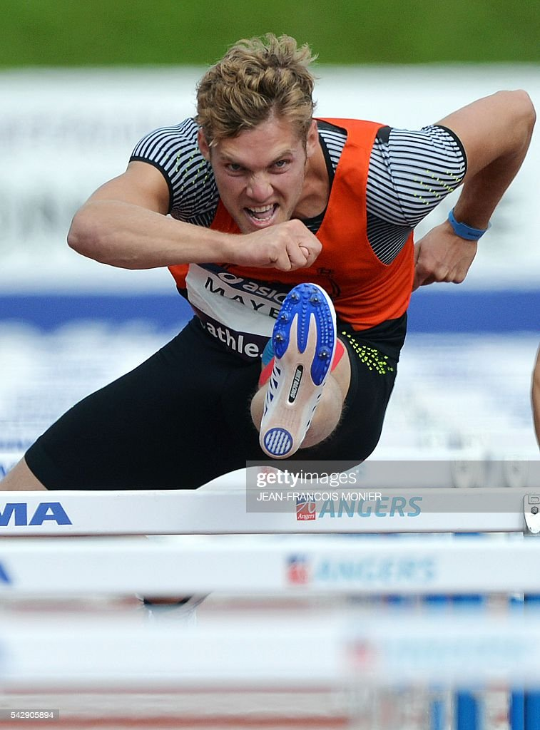 France's Kevin Mayer competes in the decathlon 110 meters hurdles during French Athletics Elite championships on June 25, 2016 at 'Lac de Maine' stadium in Angers, western France. / AFP / JEAN
