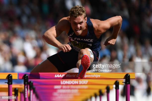 France's Kevin Mayer competes in the men's decathlon 110m hurdles athletics event at the 2017 IAAF World Championships at the London Stadium in...