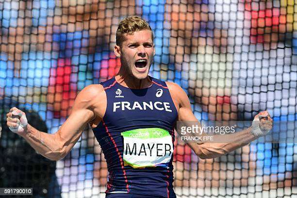 TOPSHOT France's Kevin Mayer reacts in the Men's Decathlon Discus Throw during the athletics event at the Rio 2016 Olympic Games at the Olympic...