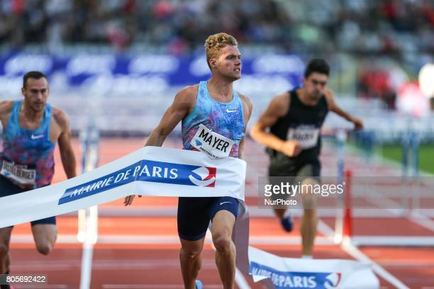 France's Kevin Mayer wins the 110 meters hurdles event within the International Association of Athletics Federations Diamond League in Paris France...