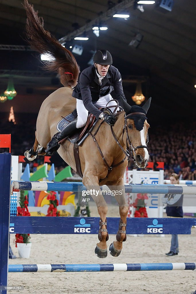 OUT +++++ France's Kevin Staut competes riding Estoy Aqui de Muze during the 'Memorial Eric Wauters' equestrian FEI World Cup Jumping competition, on December 30, 2012, in Mechelen. BELGA /
