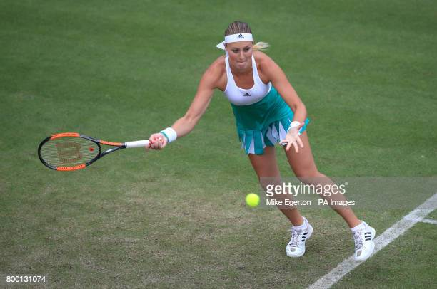France's Kristina Mladenovic iin action against Czech Republic's Petra Kvitova during day five of the 2017 AEGON Classic at Edgbaston Priory...