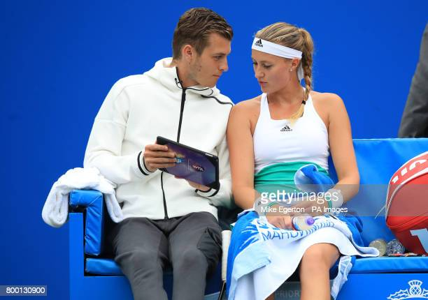 France's Kristina Mladenovic speaks with her coach Dzenita Mladenovic during her match with Petra Kvitova during day five of the 2017 AEGON Classic...