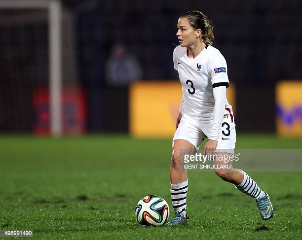 France's Laure Boulleau controls the ball during the womens Euro 2017 qualifying football match between Albania and France at the Qemal Stafa stadium...