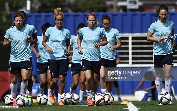 France's Laure Boulleau forward Marie Laure Delie midfielder Kheira Hamraoui forward Eugenie Le Sommer midfielder Camille Abily forward Gaetane...