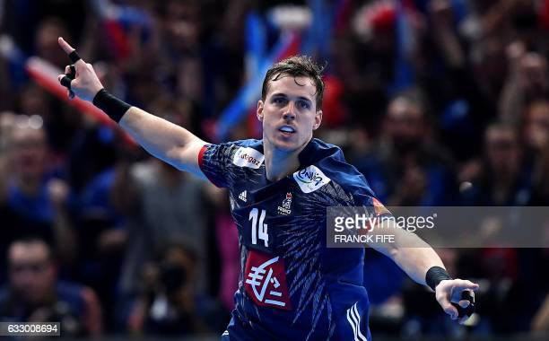 France's left wing Kentin Mahe celebrates a goal during the 25th IHF Men's World Championship 2017 final handball match between France and Norway on...