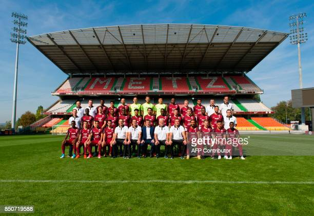 France's Ligue 1 football club FC Metz' doctor Eric Sitte doctor Andre Marie French forward Opa Nguette Argentinian midfielder Geronimo Poblete...