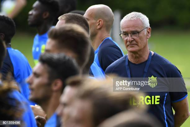 France's Ligue 1 football club FC Nantes' Italian coach Claudio Ranieri looks on during a training session at the FC Nantes headquarters on June 26...