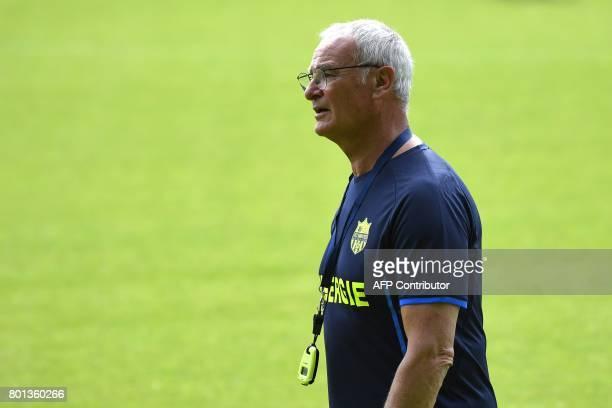 France's Ligue 1 football club FC Nantes' Italian coach Claudio Ranieri reacts during a training session at the FC Nantes headquarters on June 26...