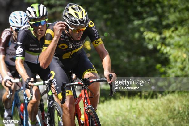 France's Lilian Calmejane Belgium's Serge Pauwels lead a breakaway during the 1875 km eighth stage of the 104th edition of the Tour de France cycling...