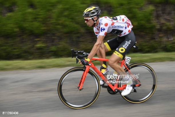 France's Lilian Calmejane wearing the best climber's polka dot jersey rides during the 1815 km ninth stage of the 104th edition of the Tour de France...