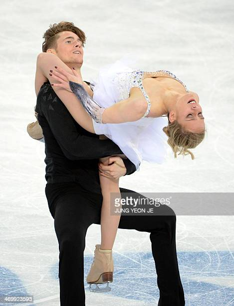 France's Lloyd Jones and France's Pernelle Carron compete in the Figure Skating Ice Dance Free Dance at the Iceberg Skating Palace during the Sochi...