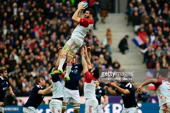 TOPSHOT France's Loann Goujon catches the ball after a line out during the Six Nations international rugby union match between France and Scotland at...