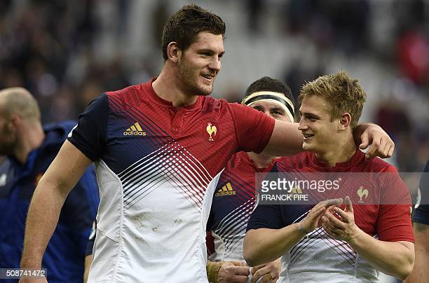 France's lock Alexandre Flanquart and France's flyhalf Jules Plisson celebrate after winning the Six Nations international rugby union match between...