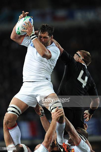 France's lock Lionel Nallet and New Zealand All Blacks lock Brad Thorn vie during the 2011 Rugby World Cup final match New Zealand vs France at Eden...