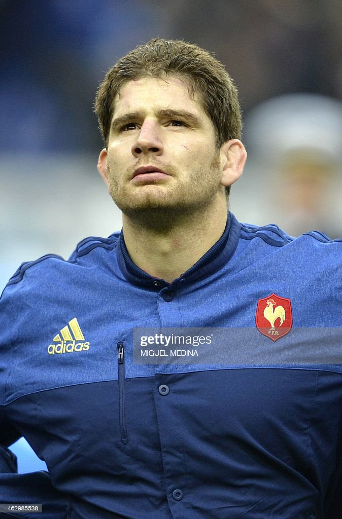 France's lock Pascal Pape looks on prior the Six Nations international rugby union match on February 7, 2015 at the Stade de France, northern Paris.