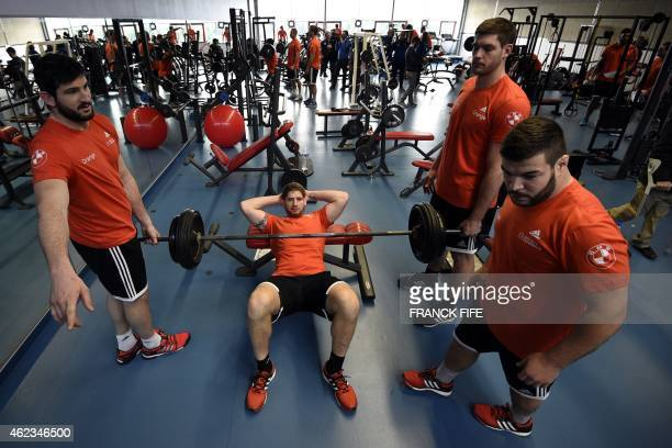 France's lock Pascal Pape takes part in an indoor training session on January 27 2015 in CanetenRoussillon as part of the preparation of the Six...