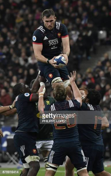 France's lock Paul Jedrasiak leaps in the line out during the friendly rugby union international Test match between France and South Africa's...