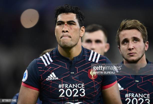 France's lock Sebastien Vahaamahina looks on after the friendly rugby union international Test match between France and South Africa's Springboks at...