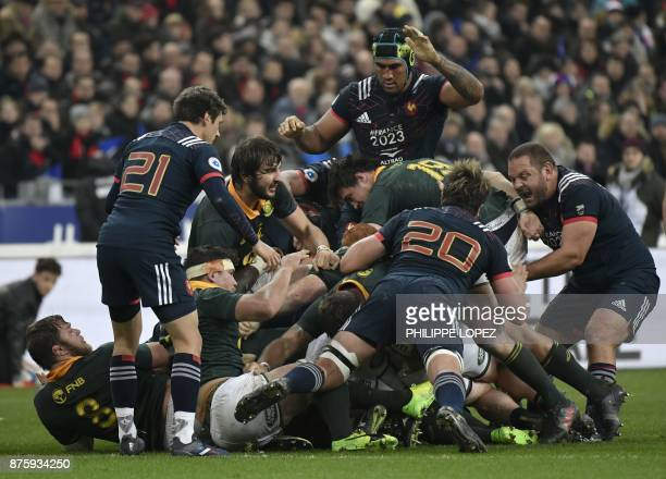 France's lock Sebastien Vahaamahina looks on during a ruck during the friendly rugby union international Test match between France and South Africa's...