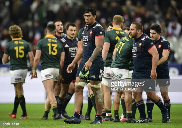 France's lock Sebastien Vahaamahina reacts after defeat in the friendly rugby union international Test match between France and South Africa's...