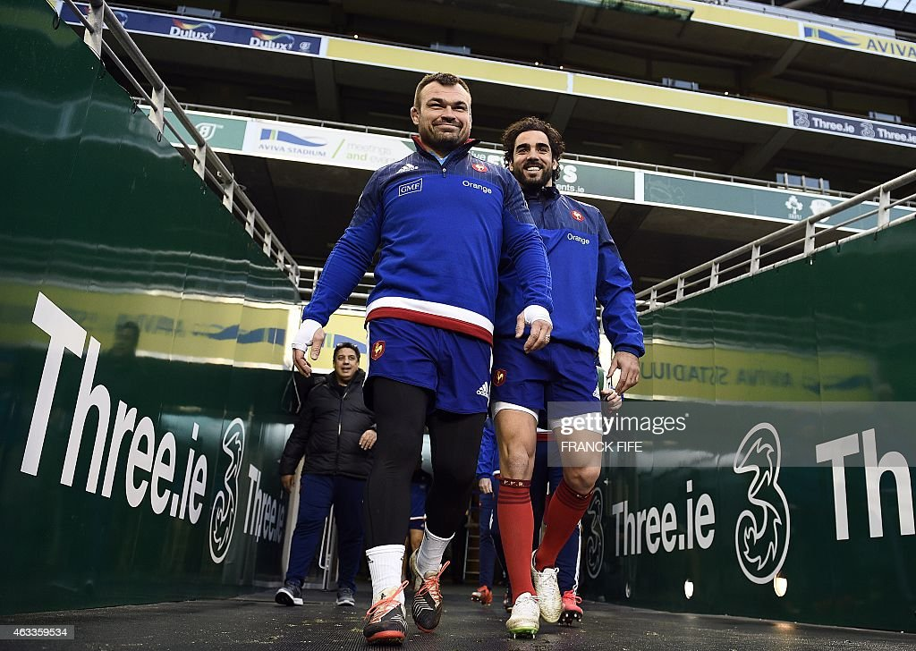 France's loose head prop <a gi-track='captionPersonalityLinkClicked' href=/galleries/search?phrase=Nicolas+Mas&family=editorial&specificpeople=598314 ng-click='$event.stopPropagation()'>Nicolas Mas</a> (L) and France's wing <a gi-track='captionPersonalityLinkClicked' href=/galleries/search?phrase=Yoann+Huget&family=editorial&specificpeople=683912 ng-click='$event.stopPropagation()'>Yoann Huget</a> arrive for a training session on February 13, 2015 at the Aviva Stadium in Dublin, Ireland on the eve of their Six Nations rugby union game against Ireland. AFP PHOTO / FRANCK FIFE