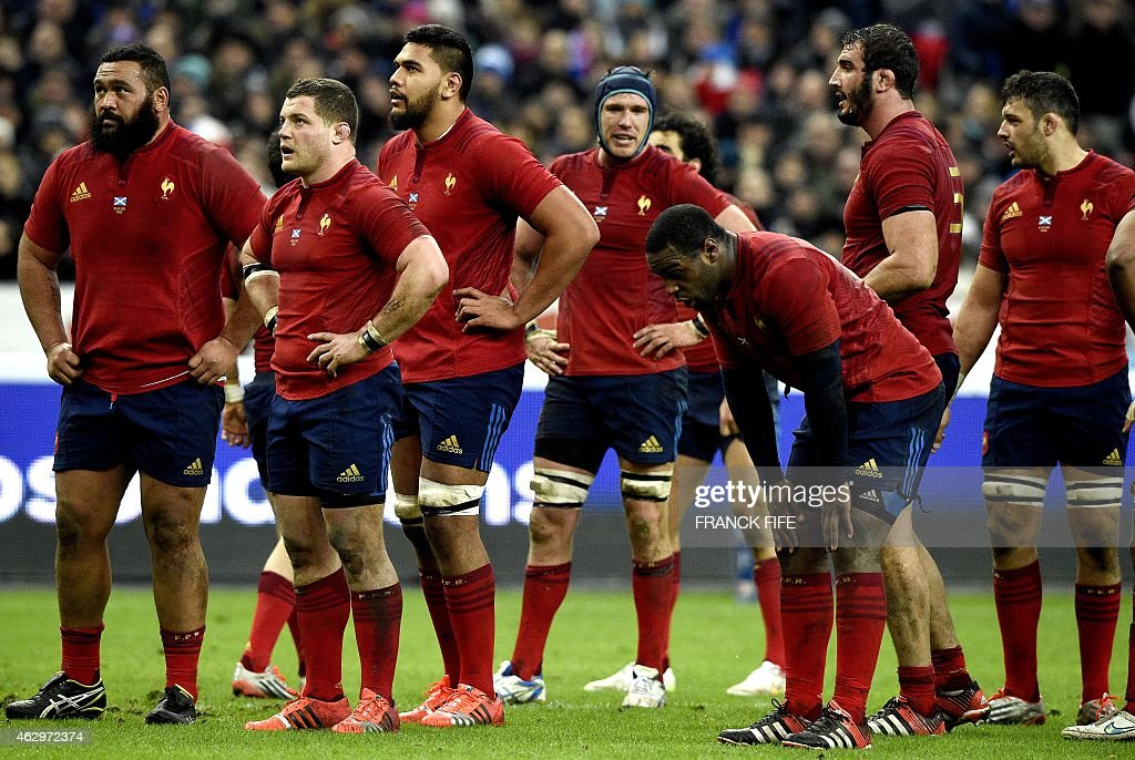 France's loose head prop Uni Atonio, France's hooker <a gi-track='captionPersonalityLinkClicked' href=/galleries/search?phrase=Benjamin+Kayser&family=editorial&specificpeople=2117538 ng-click='$event.stopPropagation()'>Benjamin Kayser</a>, France's flanker Romain Taofifenua, France's fly half Camille Lopez, France's loose head prop Eddy Ben Arous, France's lock Yoann Maestri and France's N°8 Damien Chouly reacts during the Six Nations international rugby union match between France and Scotland, at the Stade de France, northern Paris on February 7, 2015. France won 15-8.