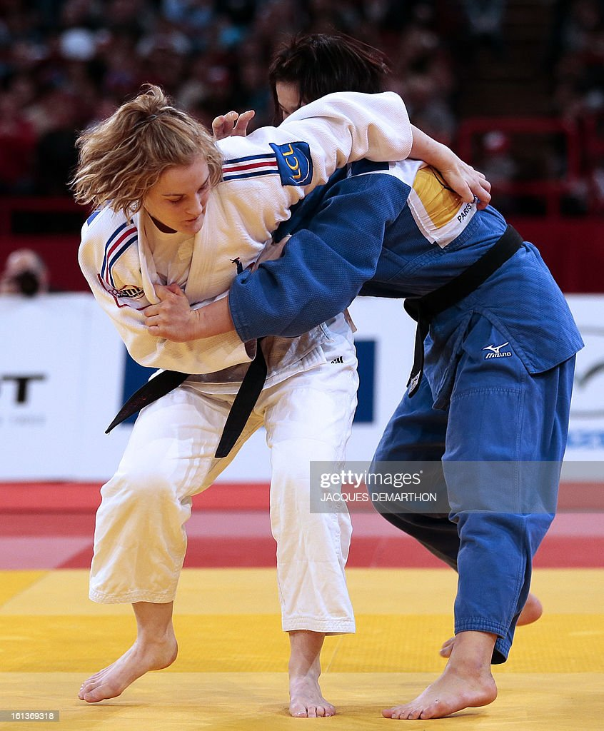 France's Lucie Louette (L) competes against Japan's Ogata Akari on February 10, 2013 during their Women -78Kg final of the Paris International Judo tournament, part of the Grand Slam, at the Palais Omnisports de Paris-Bercy (POPB) in Paris.