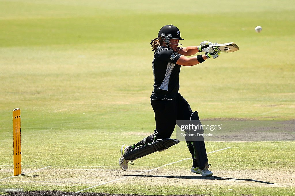 Frances Mackay of New Zealand bats during the Women's International Twenty20 match between the Australian Southern Stars and New Zealand at Junction Oval on January 22, 2013 in Melbourne, Australia.