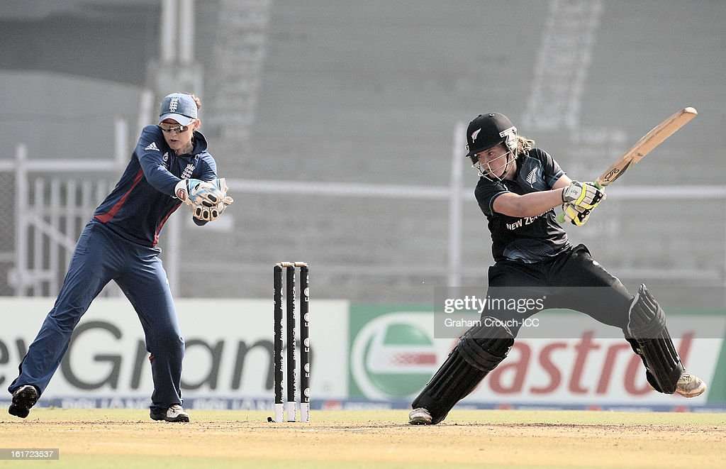 Frances Mackay of New Zealand batting during the 3rd/4th Place Play-Off game between England and New Zealand at the Women's World Cup India 2013 at the Cricket Club of India ground on February 15, 2013 in Mumbai, India.