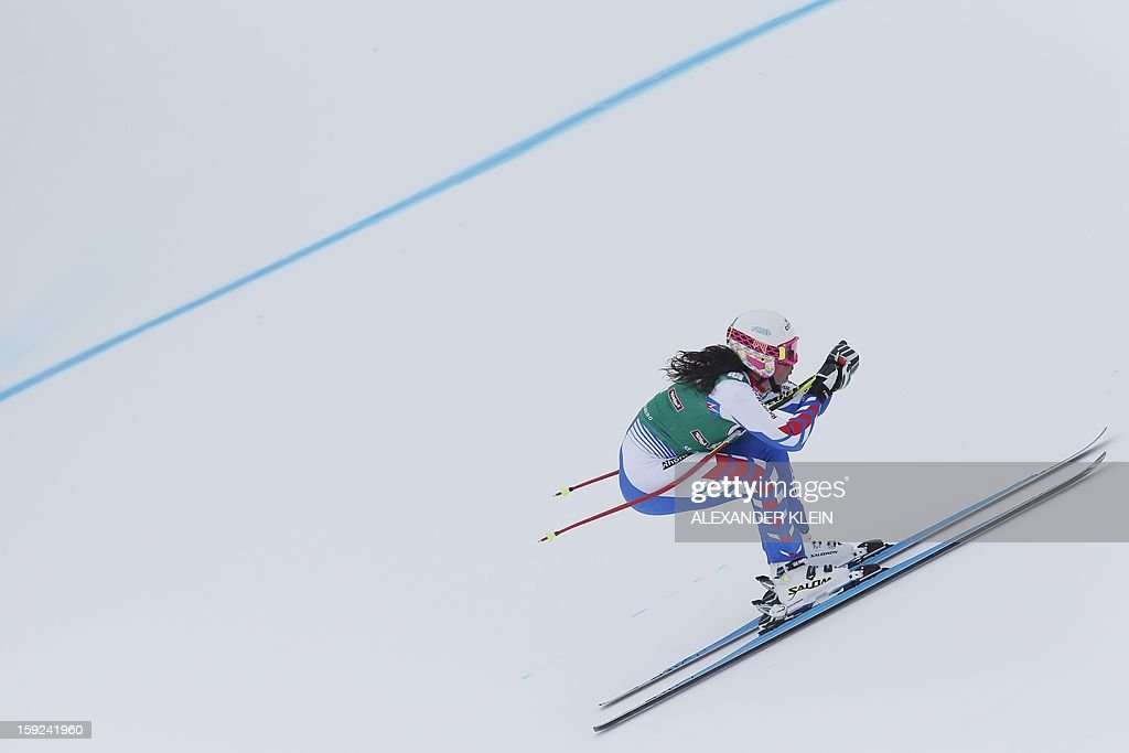 France's Margot Bailet skies during the St Anton ladies downhill training session as part of the FIS Ski World Cup held in Sankt Anton am Arlberg on January 10, 2013.