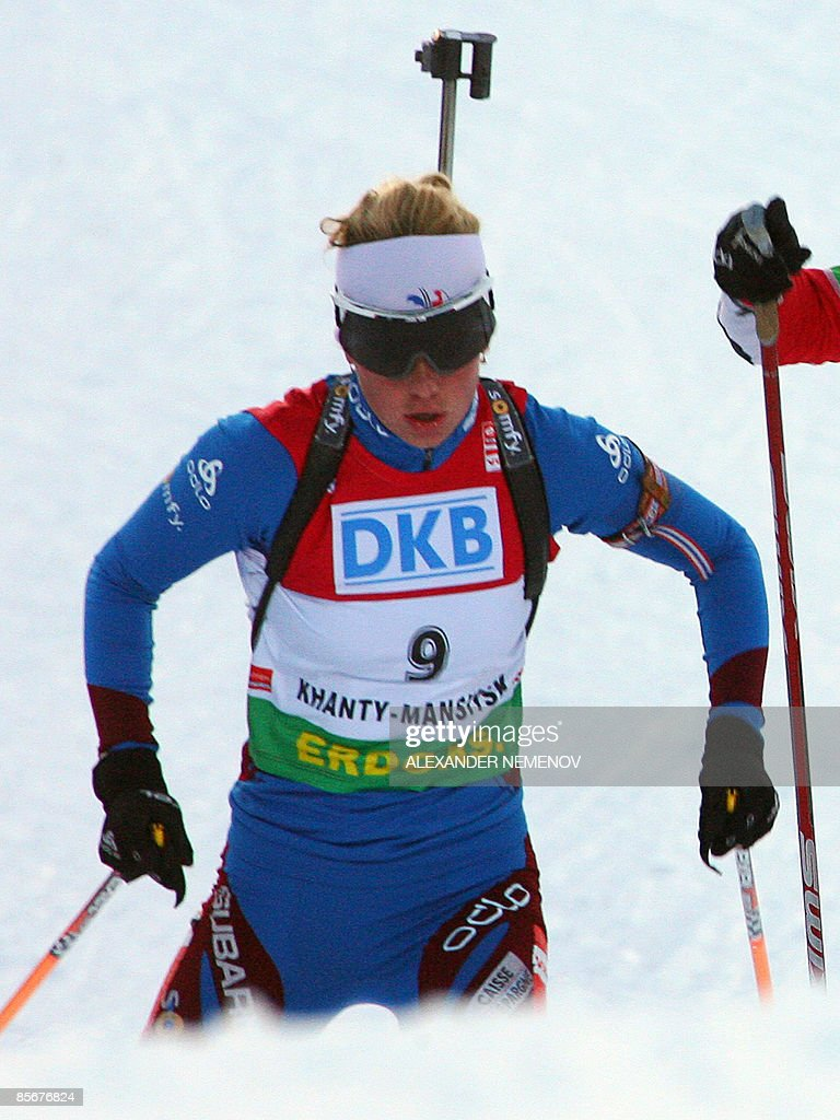 France's Marie Derin competes for the third place during the women's 10 km pursuit event on March 28, 2009, at the ski stadium in the Siberian city of Khanty-Mansiysk, during the IBU World Cup biathlon final. Germany's Magdalena Neuner covered the 10km course in a time of 27min 53sec for her third victory of the campaign, coming in ahead of Italy's Michela Ponza with Maria Dorin of france in third.