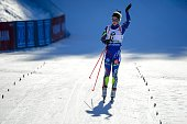 France's Marie Dorin Habert celebrates after taking second place of the Women's 10 km Pursuit event of the IBU Biathlon World Cup in Pokljuka on...