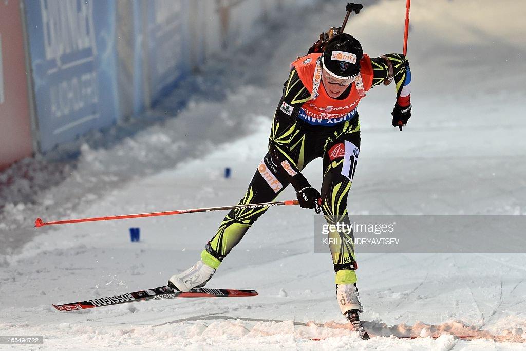 France's Marie Dorin Habert reacts after the Women 75 km Sprint at the IBU Biathlon World Championship in Kontiolahti Finland on March 7 2015...