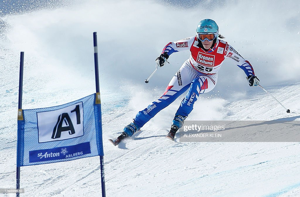France's Marie Marchand-Arvier competes during the women's World Cup Super G, on January 13, 2013 in St Anton am Arlberg, Austria. Slovenia's Tina Maze won ahead of Austria's Anna Fenninger and Switzerland's Fabienne Suter.
