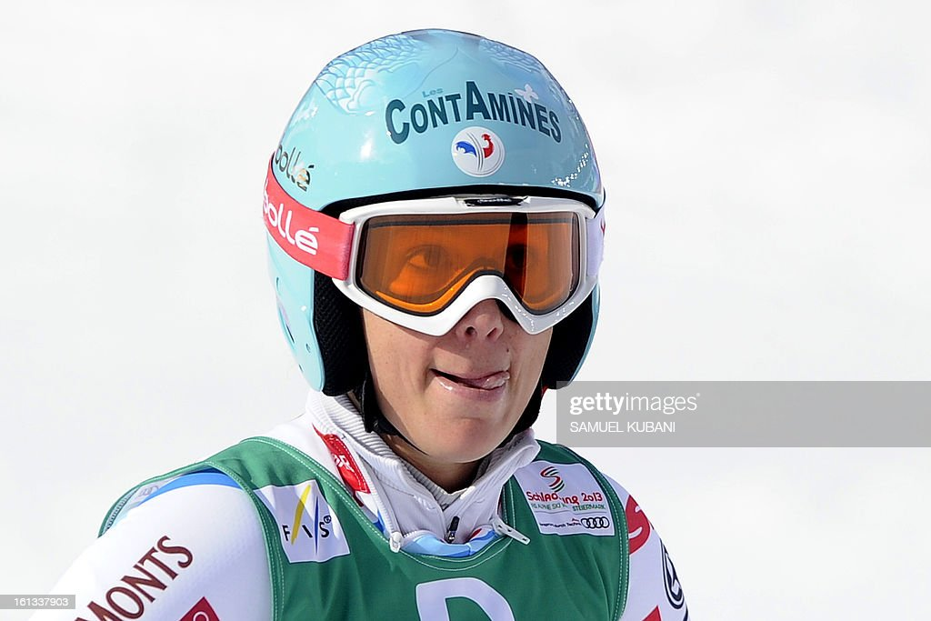 France's Marie Marchand-Arvier reacts at finish line during the women's downhill event of the 2013 Ski World Championships in Schladming, Austria on February 10, 2013.