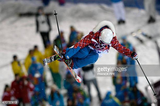 France's Marie Martinod competes in the Women's Freestyle Skiing Halfpipe finals at the Rosa Khutor Extreme Park during the Sochi Winter Olympics on...