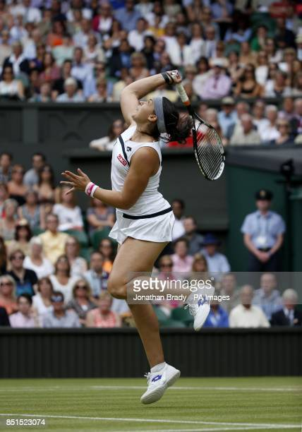 France's Marion Bartoli in action against Belgium's Kirsten Flipkens during day ten of the Wimbledon Championships at The All England Lawn Tennis and...