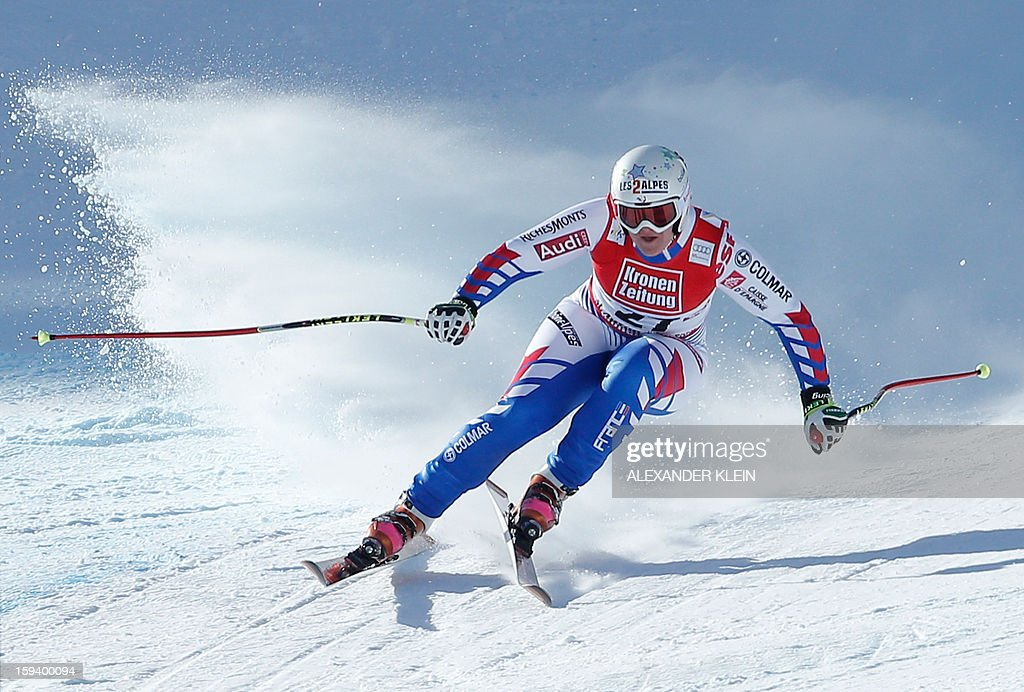 France's Marion Rolland competes during the women's World Cup Super G, on January 13, 2013 in St Anton am Arlberg, Austria. Slovenia's Tina Maze won ahead of Austria's Anna Fenninger and Switzerland's Fabienne Suter. AFP PHOTO / ALEXANDER KLEIN