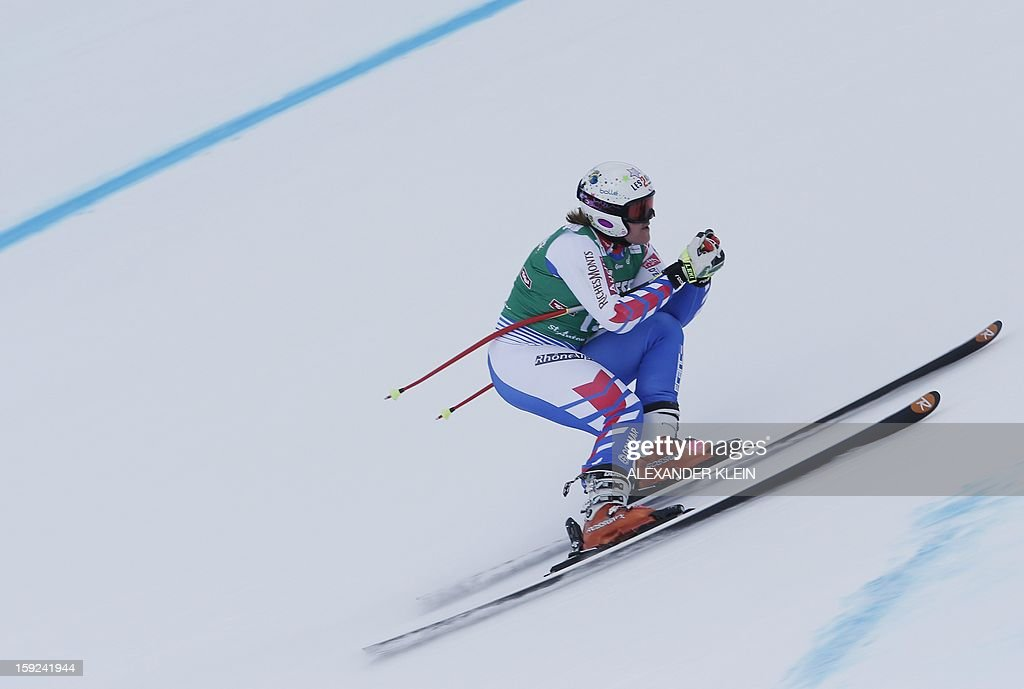 France's Marion Rolland practices during the St Anton ladies downhill training session as part of the FIS Ski World Cup held in Sankt Anton am Arlberg on January 10, 2013. AFP PHOTO / ALEXANDER KLEIN