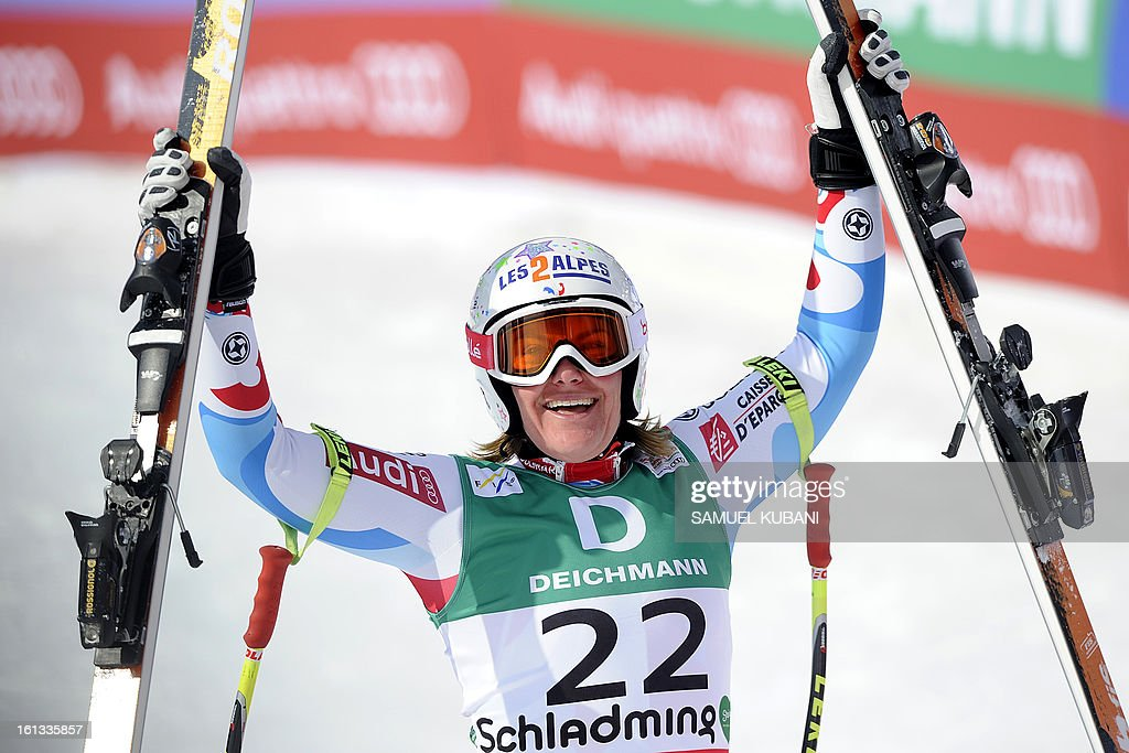 France's Marion Rolland reacts at finish line during the women's downhill event of the 2013 Ski World Championships in Schladming, Austria on February 10, 2013. AFP PHOTO / SAMUEL KUBANI