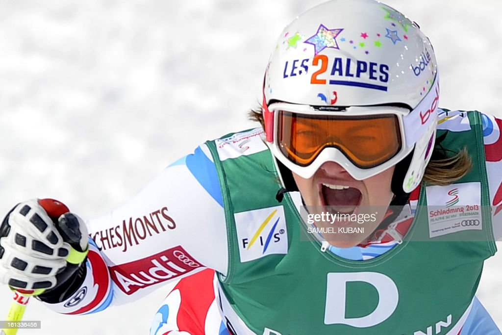 France's Marion Rolland reacts at finish line during the women's downhill event of the 2013 Ski World Championships in Schladming, Austria on February 10, 2013.