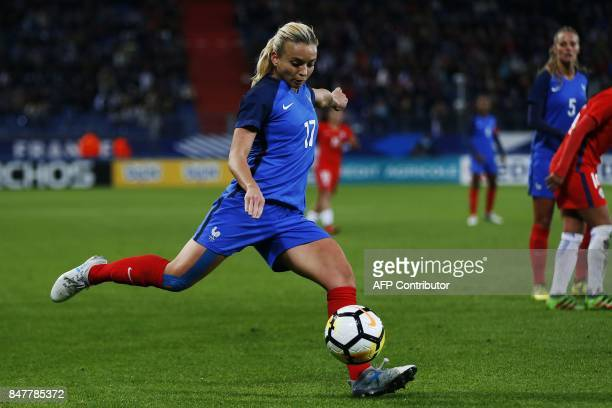 France's Marion Torrent controls the ball during a friendly football match between France and Chile at Michel D'Ornano Stadium in Caen on September...