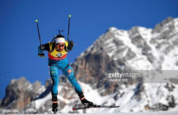 TOPSHOT France's Martin Fourcade competes during the Men 20 km Individual event at the FIS Biathlon World Championships in Hochfilzen on February 16...